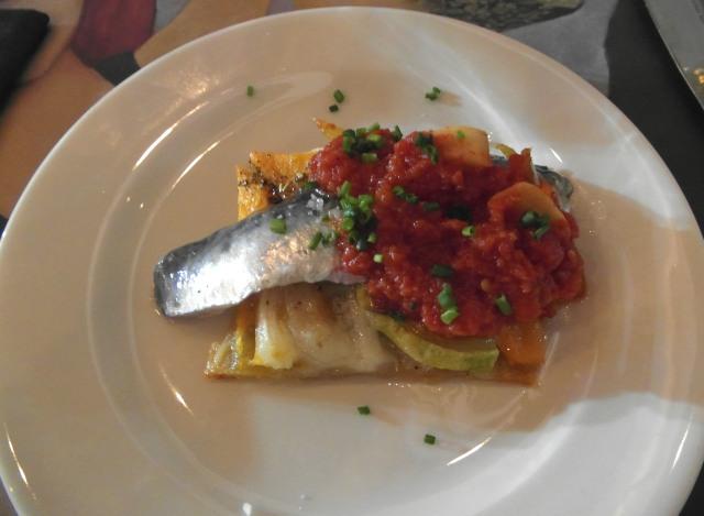 coca calabaza y calabacín con sardina